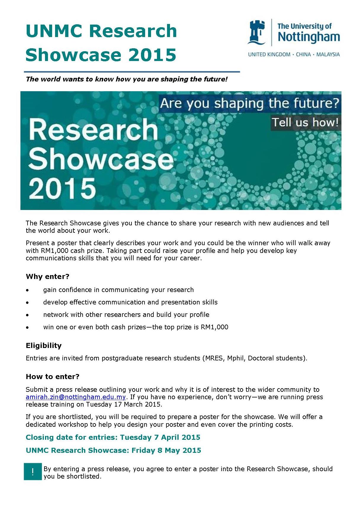 Poster design nottingham - Flyer Research Showcase 2015 1